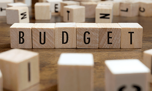 budget spelled out in wooden blocks