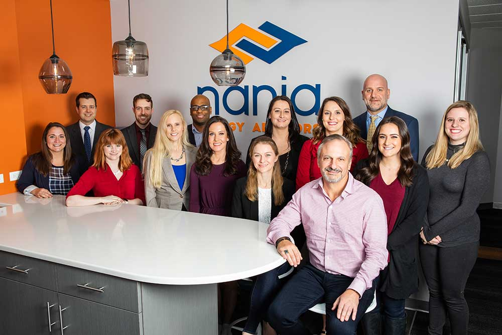 Nania Energy Advisors company taking a team portrait