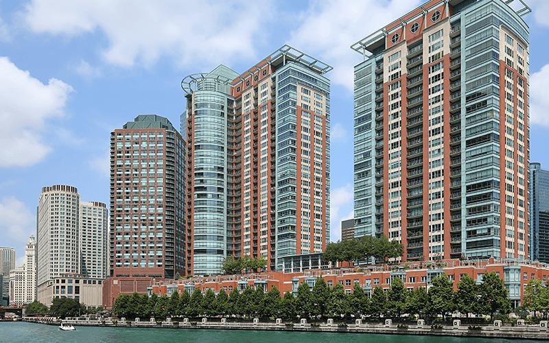 Chicago condos along riverfront