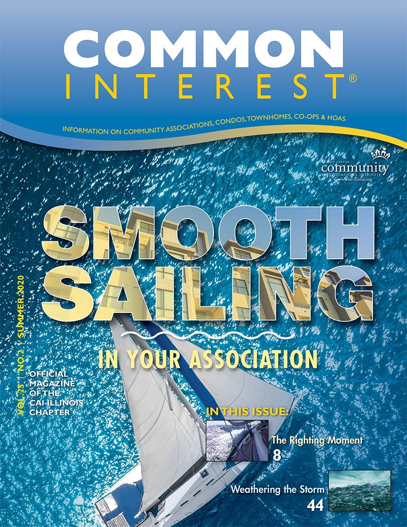 sailboat in water with common interest branding