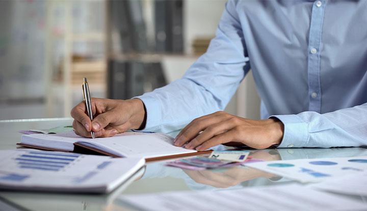 business man analyzing budget