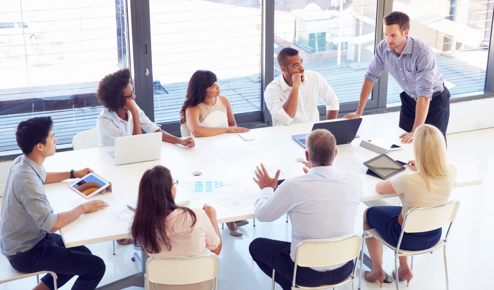 group of team members in a meeting